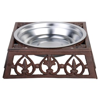 Pet bowl dog. Cast iron, stainless steel. 23,8x23,8x7,7cm. oq/8,mc/8 Pg.142