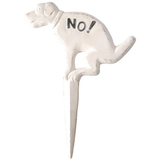 Dog sign pooing No! white. Cast iron. 23,8x1,8x33,3cm. oq/12,mc/12 Pg.142