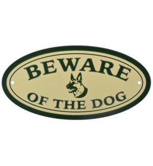 Sign Beware of the dog. Alumin