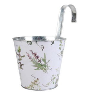 Herb print flower pot with hook. Zinc. 25,0x16,5x25,5cm. oq/12,mc/12 Pg.134