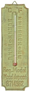IH thermometer. Cast iron, glass, kerosine. 6,7x1,0x20,8cm. oq/12,mc/32 Pg.107