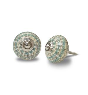 """""""CN006 Nob, ceramic, Turquoise Concentric Circle & White lin"""""""