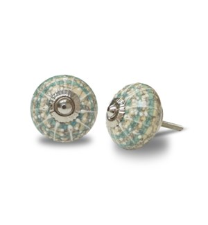 """CN006 Knob, ceramic, Turquoise Concentric Circle & White li"""