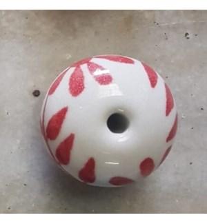 """""""CN011-4 Nob, Ceramic, White & Red"""""""