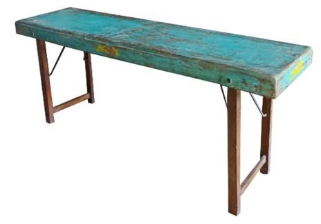 Vintage Slim Folding Table, Lt.Blue, Wood 70x17x29 inches