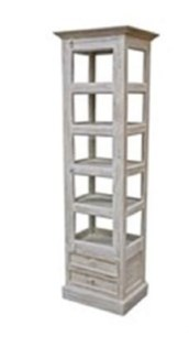 Vintage Showcase Tower, Light Brown, w/2 drwr 20x16x70 inches