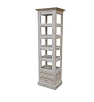 Vintage Showcase Tower, white/cream, w/2 drwr 20x16x70 inches