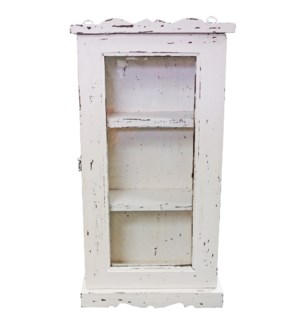 """Vintage Wall Showcase, White 16x6x28 inches"""
