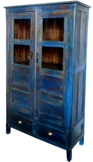 Vintage Tall Almirah, Blue, India, 40.9x17.3x74.4 inches