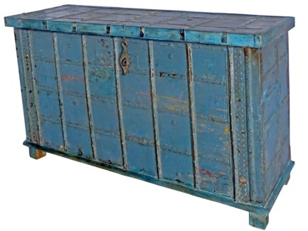 Vintage Chest, Blue, India, 57.9x18.9x18.1 inches