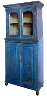 Vintage Tall Almirah, Blue, India, 34.6x15.7x76.4 inches
