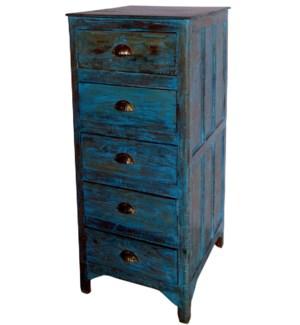 """Vintage 5 Drw Cabinet, BlueOS"""