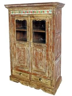 Vintage Almirah Cabinet w/Pattern Strip DIST. 41x24x61 Inches