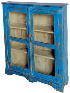 Vintage Wooden Glass Cabinet, Blue, 32x8x39 Inches