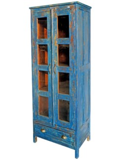 Vintage Tall 8 Pane Cabinet Blue, 28x19x70 Inches