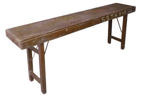 Folding Table Brown, White Washed Finish, 69x15x30 Inches