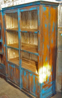 Vintage Wooden Cabinet, Distressed Blue, 48x19x.7x73 Inches