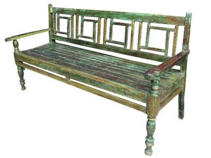 Vintage Bench, distressed green finish, 66.1x19.7x52.8 Inches