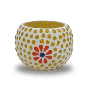 """GB03B Candle holder (4 inch), Glass, Yellow Dots"""