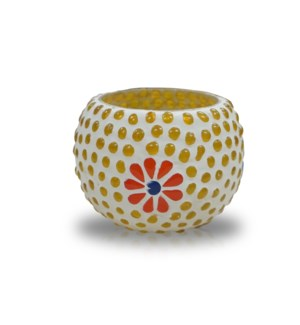"""GB03S Votive Holders (3 inch), Glass, Yellow Dots"""