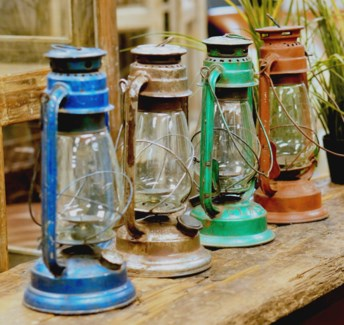 Old Glass and Metal Lanterns Various Colours 7.1x5.12x13.8