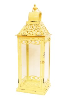 Jasmine Cream Lantern L Metal, Glass 8.9x8.9x25.6inch