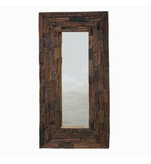 rustic frame mirror, antique brown, tile design 23.5x48inch
