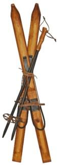 Vintage Replica Child Skiis (35 in) & Pole (26 in) Set