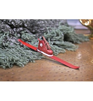 Ski Boot Ornament, Metal, 10x1.6x1.5 Inch