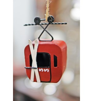 Gondola Cart Ornament Red, Metal, 3.1x2x4.5