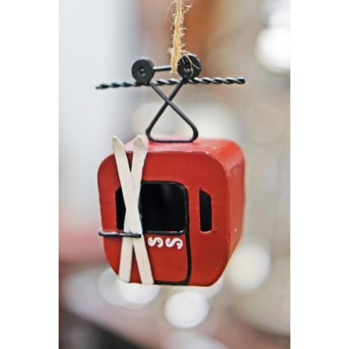 Gondola Cart Ornament Red, Metal, 3.1x2x4.5