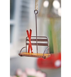 Ski Lift Bench Ornament, Metal & Wood, 3.5x1.5x5.2 Inch