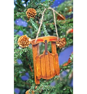 Sled Ornament, Brown, Wood, 3x4.5x0.6 Inches