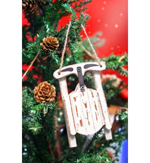 Wood Sled Ornament, Distressed White, Wood, 3x4.5x0.6 Inches