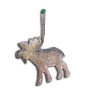 Wood Carveid Moose Ornament