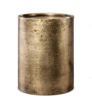 """""""Sigurd Hammered Drum End Table, Large, Antique Brass"""""""