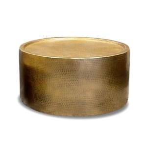 """""""Sigurd Hammered Drum Table, Large, Antique Brass"""""""