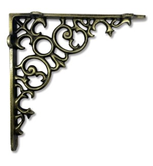 """Scroll Shelf bracket Medium, Antique Brass"""