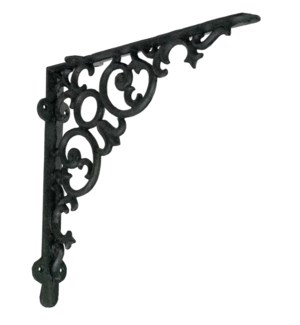 Shelf bracket, scroll, large, antique black 12x2x12