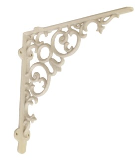 Shelf bracket, scroll, large, antique white 12x2x12