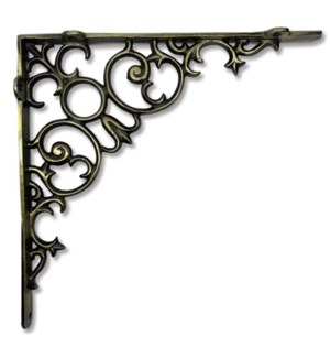 """Shelf bracket, scroll, large, Antique Brass"""