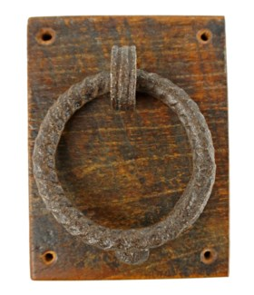 Antique Door Knocker W Board, 7x5x2.75 inches