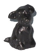 Sitting Dog, Cast Iron, Ant. Blk, 1x1x2 inches