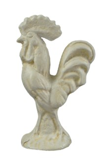 Rooster, Cast Iron Antique White, 2x2x4 inches