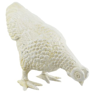 Hen Facing Down, White, 6x3.5x5.5