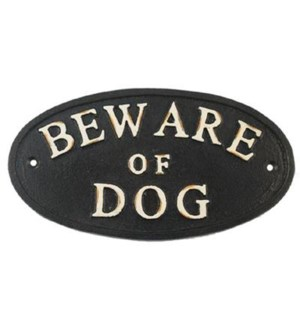 BEWARE OF DOG white script oval 4x 7inch
