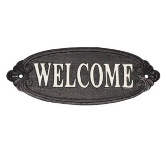 welcome  sign, white scripture on blk background  (9.5 x 3.6 x 0.4 )