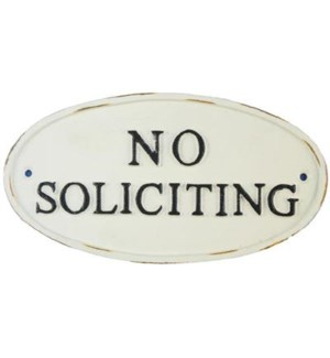 ~no soliciting~cast iron sign oval black 4x7