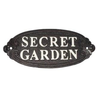 secret garden  sign, white scripture on blk background  (9.5 x 3.6 x 0.4 )