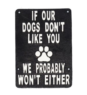 If Our Dogs Dont Like You Plaque, 9.2x6.1x1